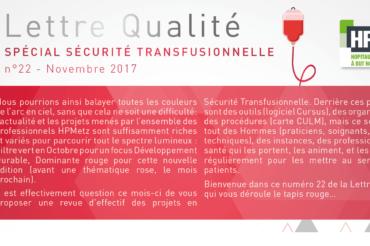 Lettre Qualité n°22 | Sécurité transfusionnelle
